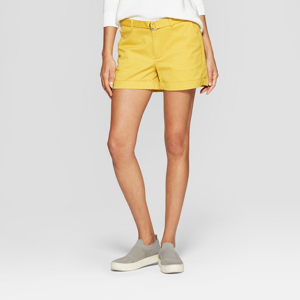 Women's Belted Shorts - A New Day Gold 6