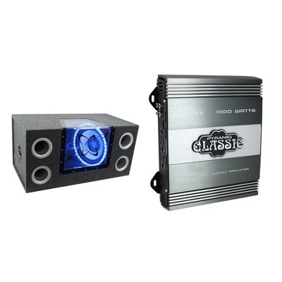 Pyramid BNPS122 12 inch 1200 watt Dual Audio Subwoofer with Neon Lighting and Bandpass Enclosure Box and Pyramid PB715X 2-Channel Car Audio Amplifier