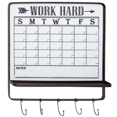 Farmhouse Style Black and White White Dry Erase Calendar Wall Decor with 5 Hooks and Shelf 24 x 26 - Olivia & May