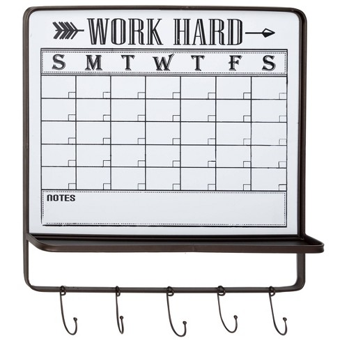Farmhouse Style Black And White White Dry Erase Calendar Wall Decor With 5 Hooks And Shelf 24 X 26 Olivia May Target