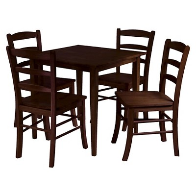 5 Piece Groveland Dining Table Set With 4 Chairs Wood/Antique Walnut    Winsome