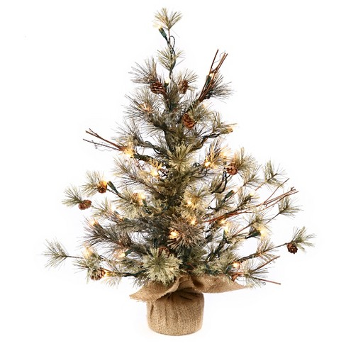 About this item - 3ft Pre-Lit Dakota Pine Artificial Christmas Tree In Burlap Base And
