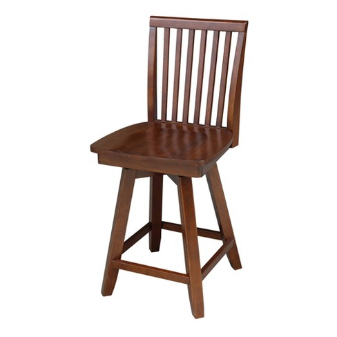 """24"""" Mission Counter Height Stool With Swivel And Auto Return Brown - International Concepts - image 1 of 4"""