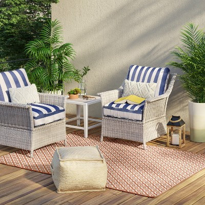 Bar Harbor 3pc Patio Chat Set - Navy/White Cabana Stripe - Threshold™
