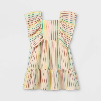 Girls' Striped Flutter Sleeve Woven Dress - Cat & Jack™