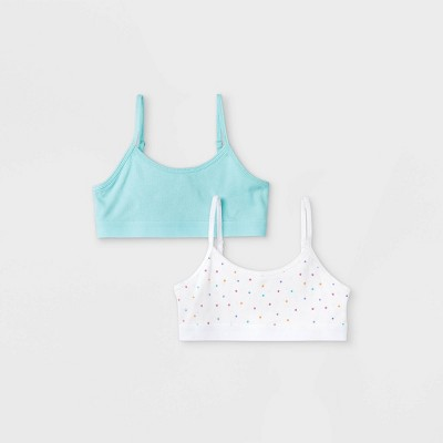 Girls' 2pk Cotton Ribbed Bra - Cat & Jack™ Blue/White