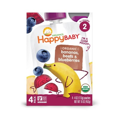 HappyBaby 4pk Organic Bananas Beets & Blueberries Baby Food Pouch - 16oz