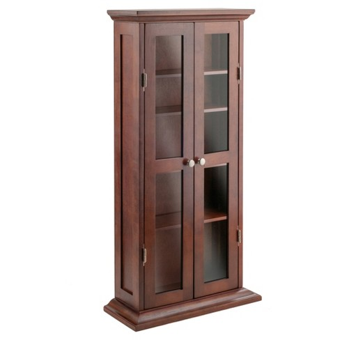 Dvd Cd Cabinet Antique Walnut Winsome