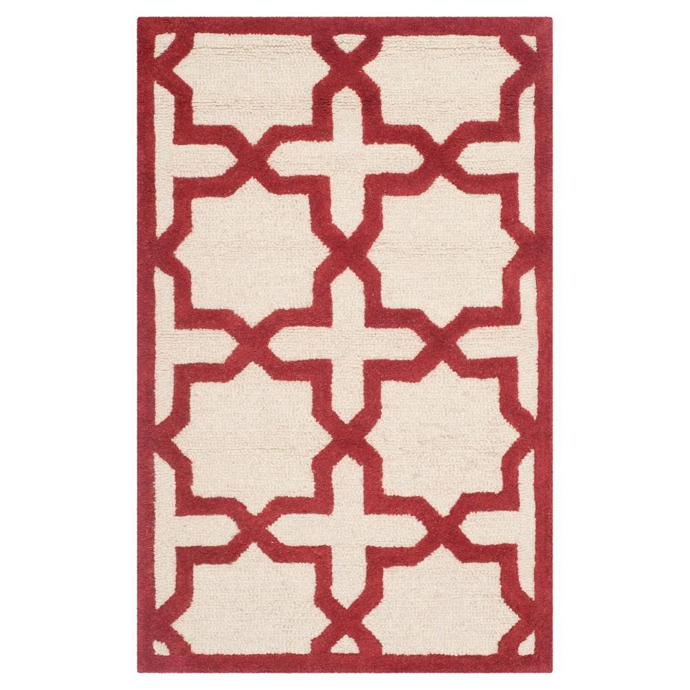 2'6X4' Trellis Accent Rug Ivory/Rust (Ivory/Red) - Safavieh
