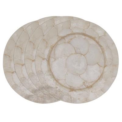 4pk Capiz Shell Charger Plates White - Saro Lifestyle