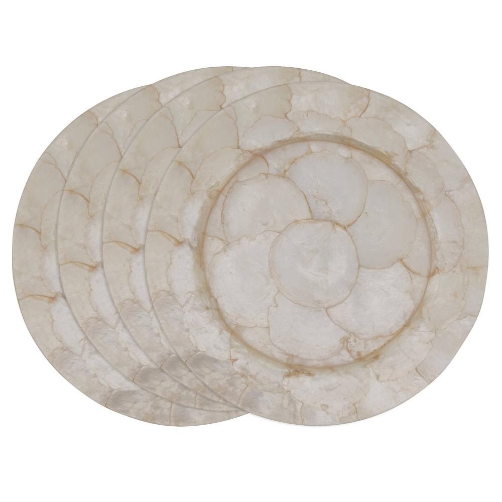 Image of 4pk Capiz Shell Charger Plates White - Saro Lifestyle