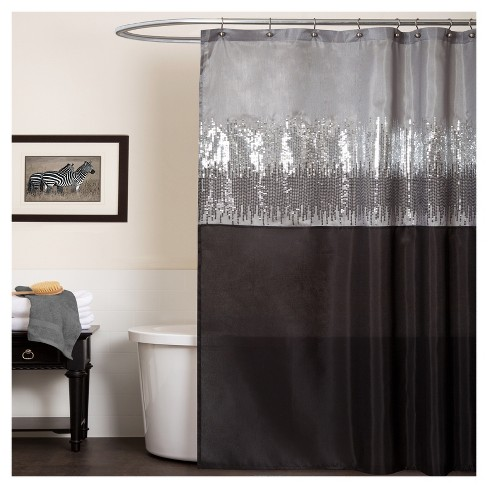 Night Sky Shower Curtain Black Gray