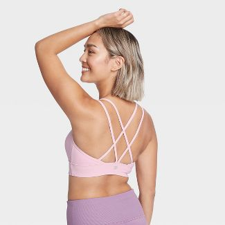 Women's Low Support Strappy Long Line Bra - All in Motion™ Lilac M