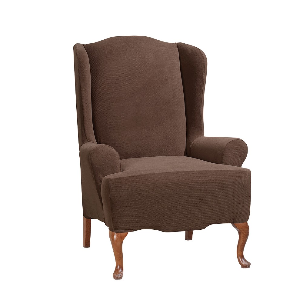 Stretch Morgan Wing Chair Slipcover Chocolate (Brown) - Sure Fit