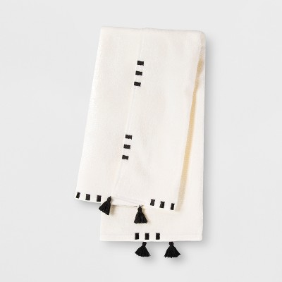 Embroidered Hem Hand Towel Black/Cream - Opalhouse™