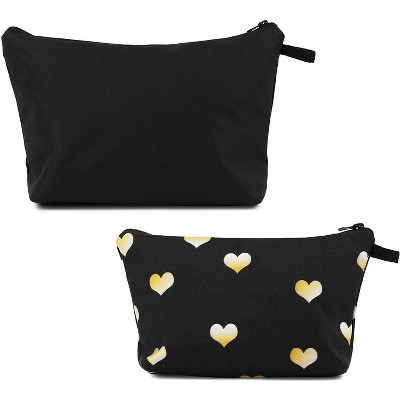 Glamlily Set of 2 Hearts Makeup Organizer Bag, Cosmetic Storage Pouch, Travel Toiletry Case, Black