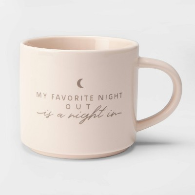 16oz Porcelain My Favorite Night Out is a Night In Mug Off White - Threshold™