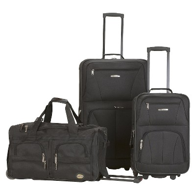 Rockland Spectra 3pc. Expandable Rolling Luggage Set - Black