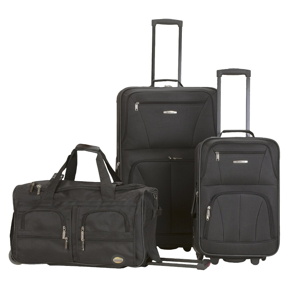 Rockland Spectra 3pc Expandable Rolling Luggage Set Black