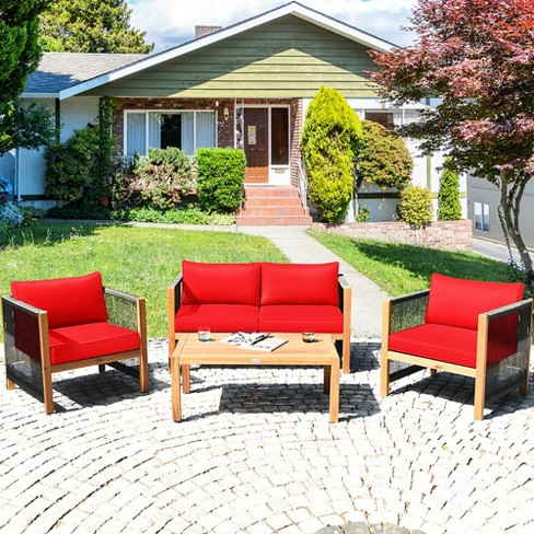 Costway 4pcs Wooden Patio Furniture Set, Red Outdoor Furniture