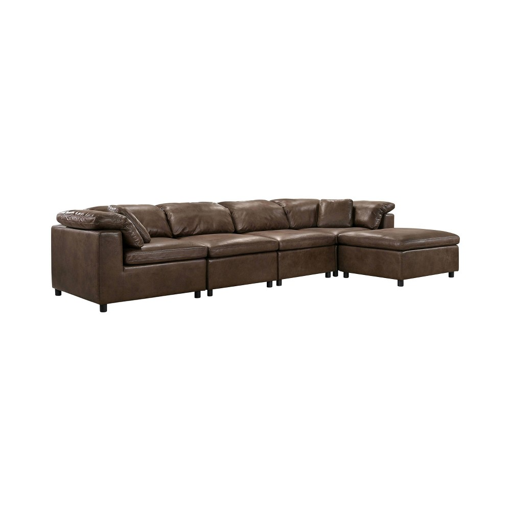 Image of 5pc Merrel Upholstered Sectional with Ottoman Brown - miBasics