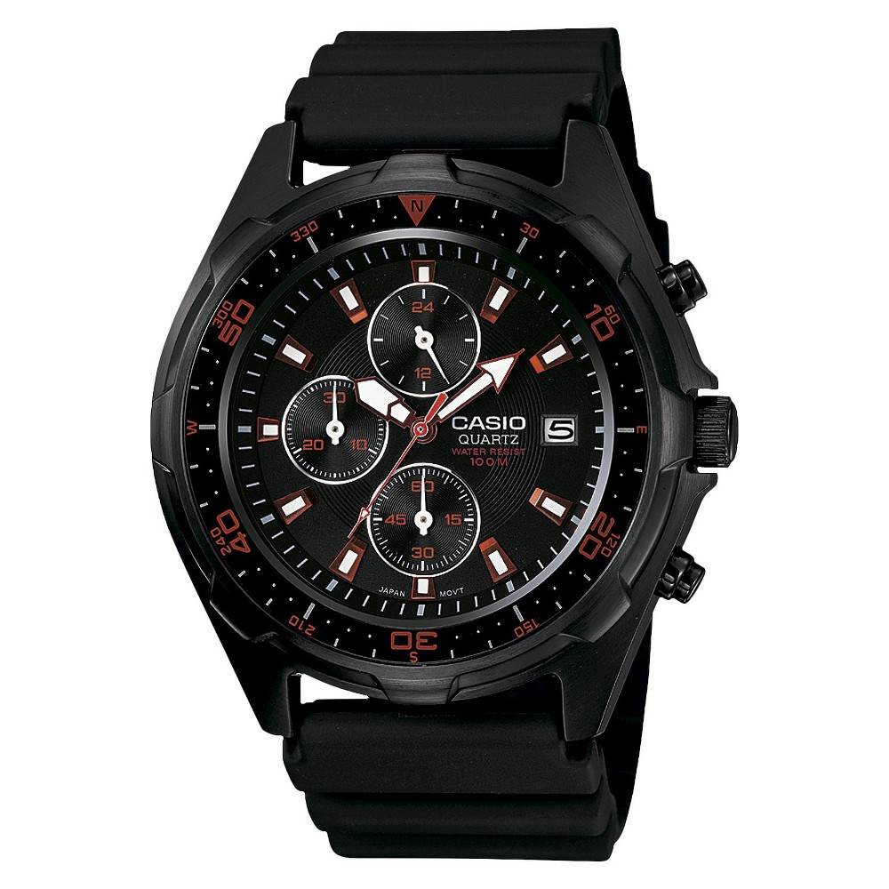 Casio Men's Chronograph Watch with Red Accents - Black (AMW370B-1A1), Black/Red