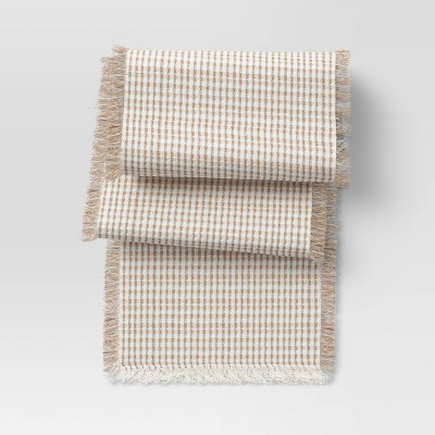"""72"""" x 14"""" Cotton and Jute Textured Table Runner - Threshold™"""