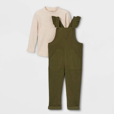 Toddler Girls' Mock Neck Top & Ruffle Overalls - Cat & Jack™ Cream/Army Green