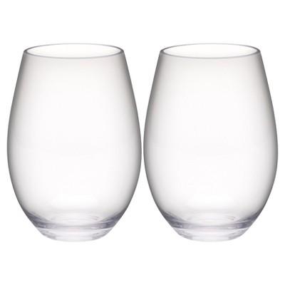 Trinity 20oz Set of 2 Stemless Wine Tumbler Clear - Zak Designs