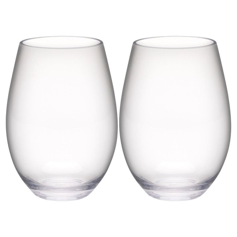 Image of Trinity 20oz Set of 2 Stemless Wine Tumbler Clear - Zak Designs