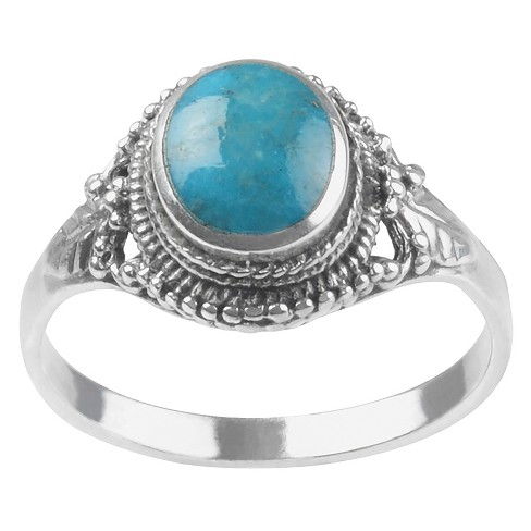 1/4 CT. T.W. Oval-cut Turquoise Fashion Bezel Set Ring in Sterling Silver - Blue - image 1 of 2
