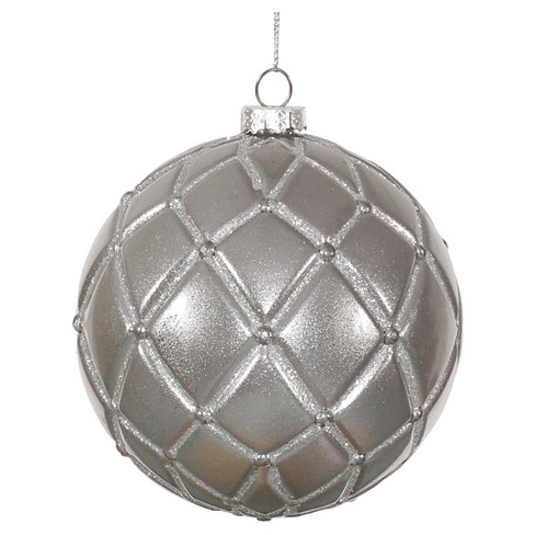 6ct Pewter Candy Glitter Net Ball Christmas Ornament Set - image 1 of 1