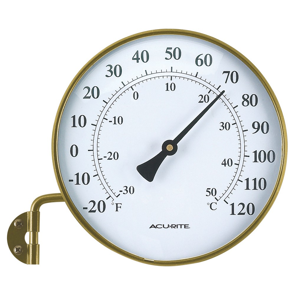 Image of 6 Metal Window Thermometer with Swivel Arm - Antiqued Brass Finish - Acurite, Brown