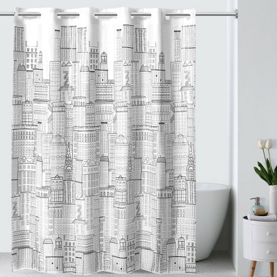 Skyline PEVA Shower Curtain White/Black - Hookless