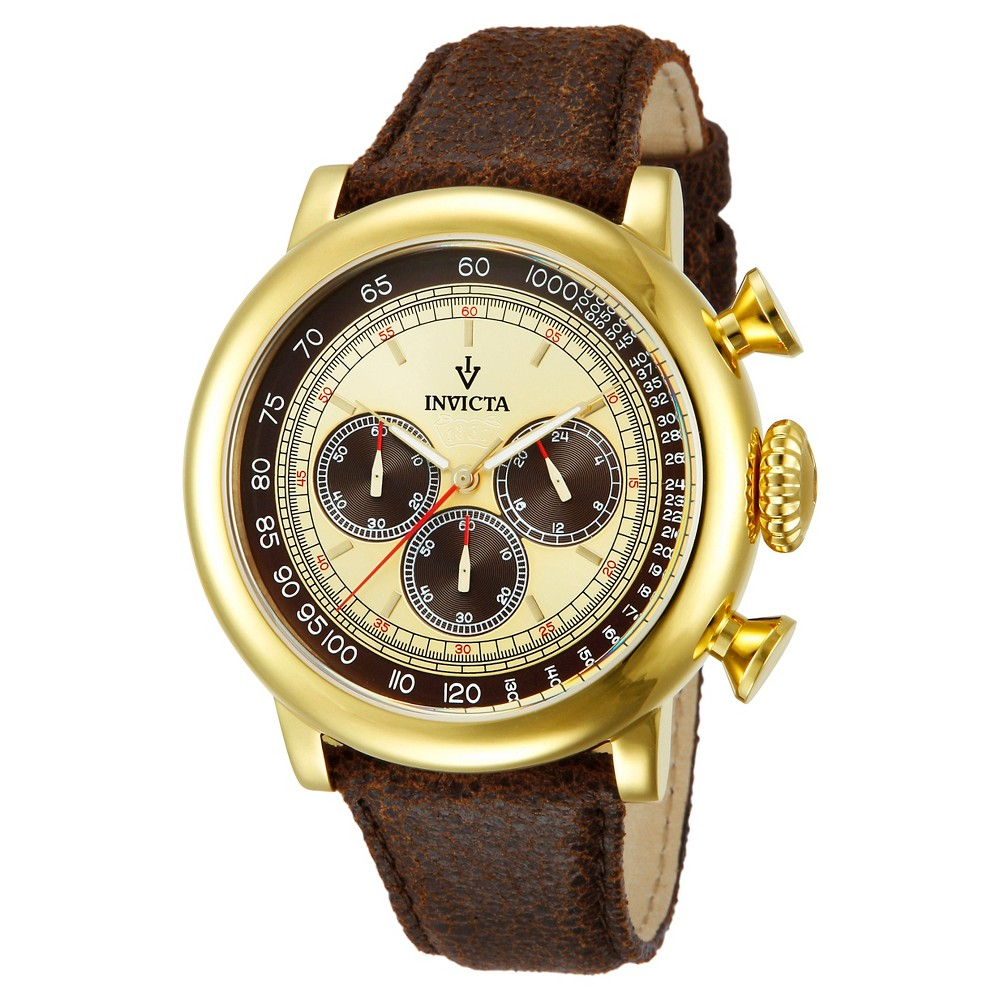 Men's Invicta 13058 Vintage Quartz 3 Hand Brown and Ivory Dial Strap Watch - Brown