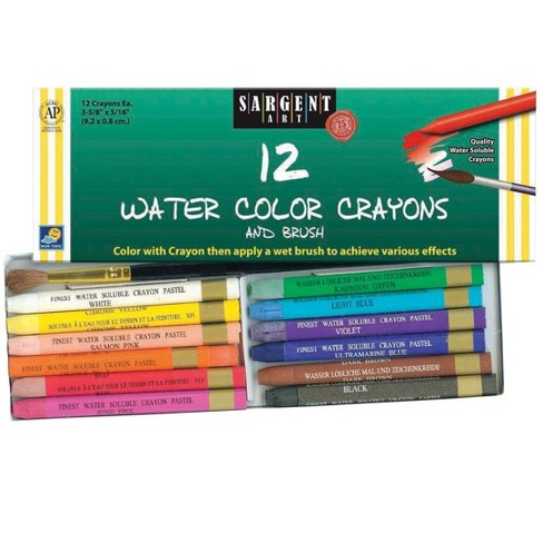 Sargent Art Non-Toxic Water Soluble Watercolor Crayon Set, 3-5/8 x 5/8 Inches, Assorted Colors, set of 12 - image 1 of 1