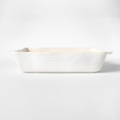 Cravings by Chrissy Teigen 13.25 x9  Embossed Stoneware Bakeware with Handle White