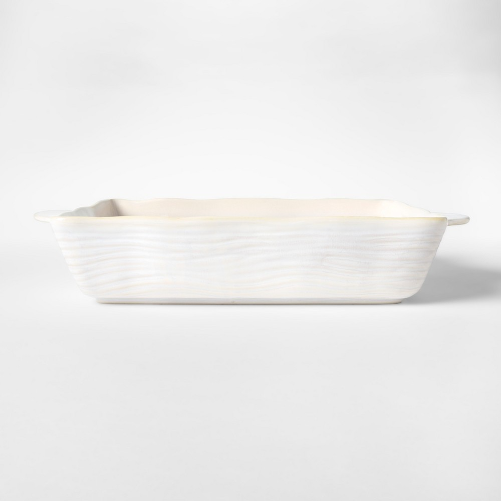 "Image of ""Cravings by Chrissy Teigen 13.25""""x9"""" Embossed Stoneware Bakeware with Handle White"""