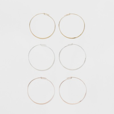 Thin Hoops Earring Set 3ct - A New Day™