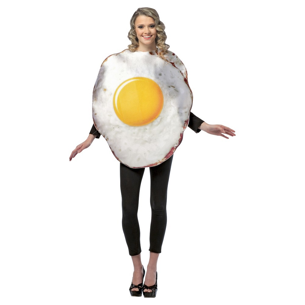 Adult Get Real Fried Egg Costume One Size, Adult Unisex, White/Yellow