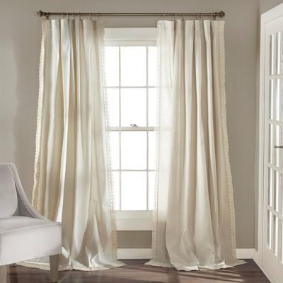 "108""x54"" Rosalie Rod Pocket Light Filtering Window Curtain Panels Ivory - Lush Décor"