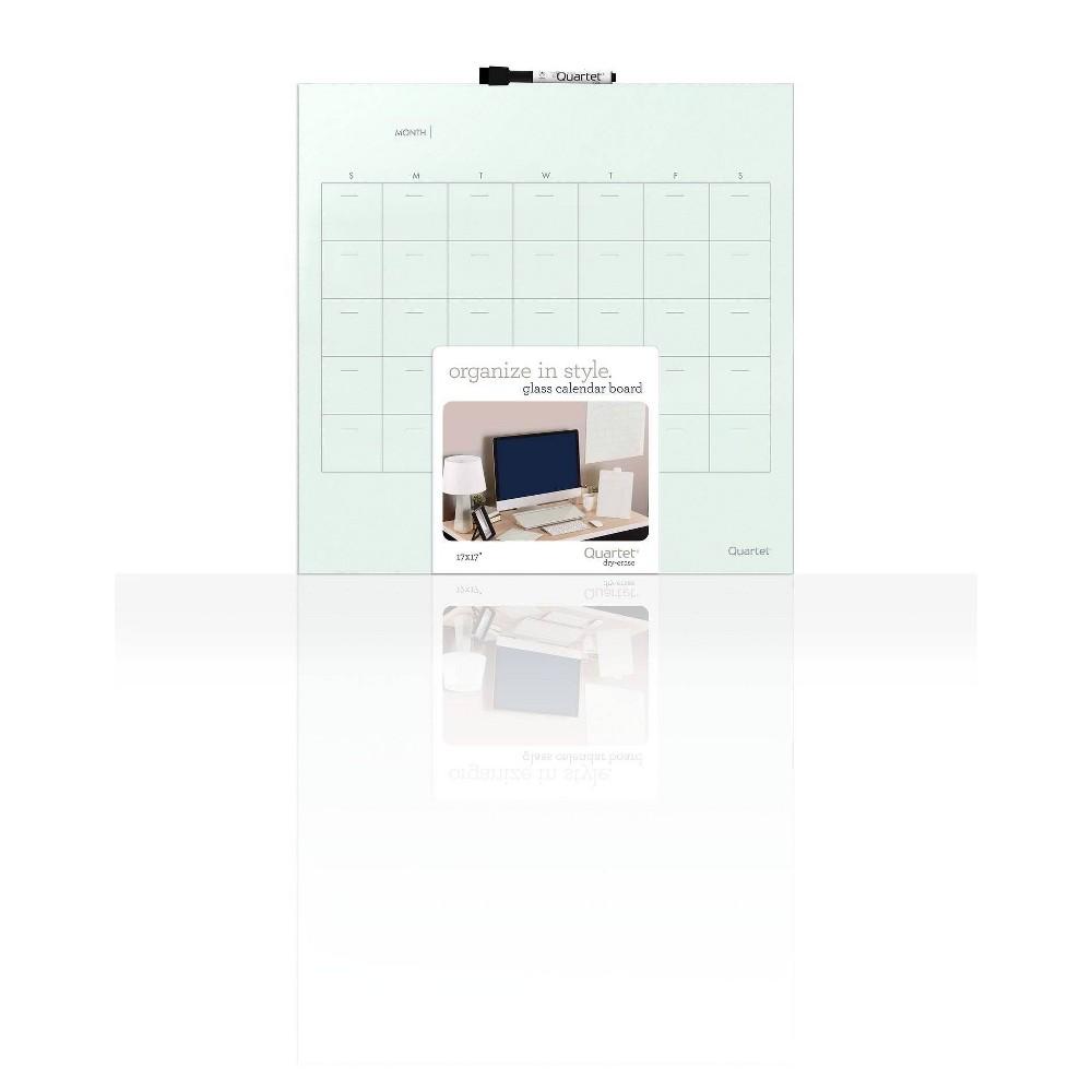 "Image of ""Quartet 17"""" x 17"""" Glass Dry-Erase Calendar Board Undated Frameless - White"""