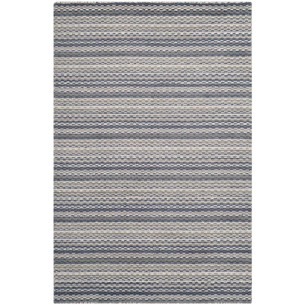 4'X6' Stripe Loomed Area Rug Beige/Gray - Safavieh