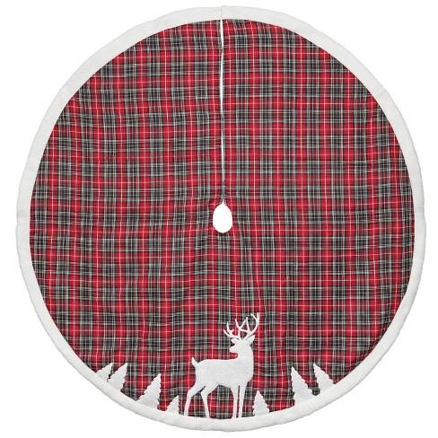 "Northlight 48"" Plaid Tree Skirt DEER APPLIQUE - RED - image 1 of 1"