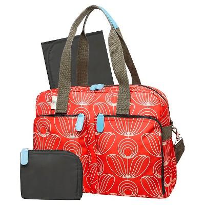 Orla Kiely Diaper Bag Tote - Red/White Stem Flower Print
