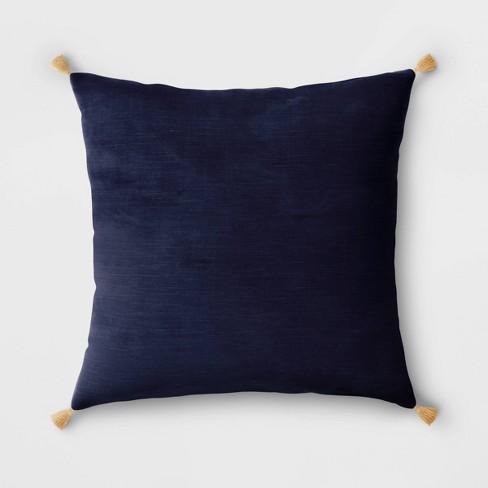 Velvet Throw Pillow with Tassels - Threshold™ - image 1 of 3