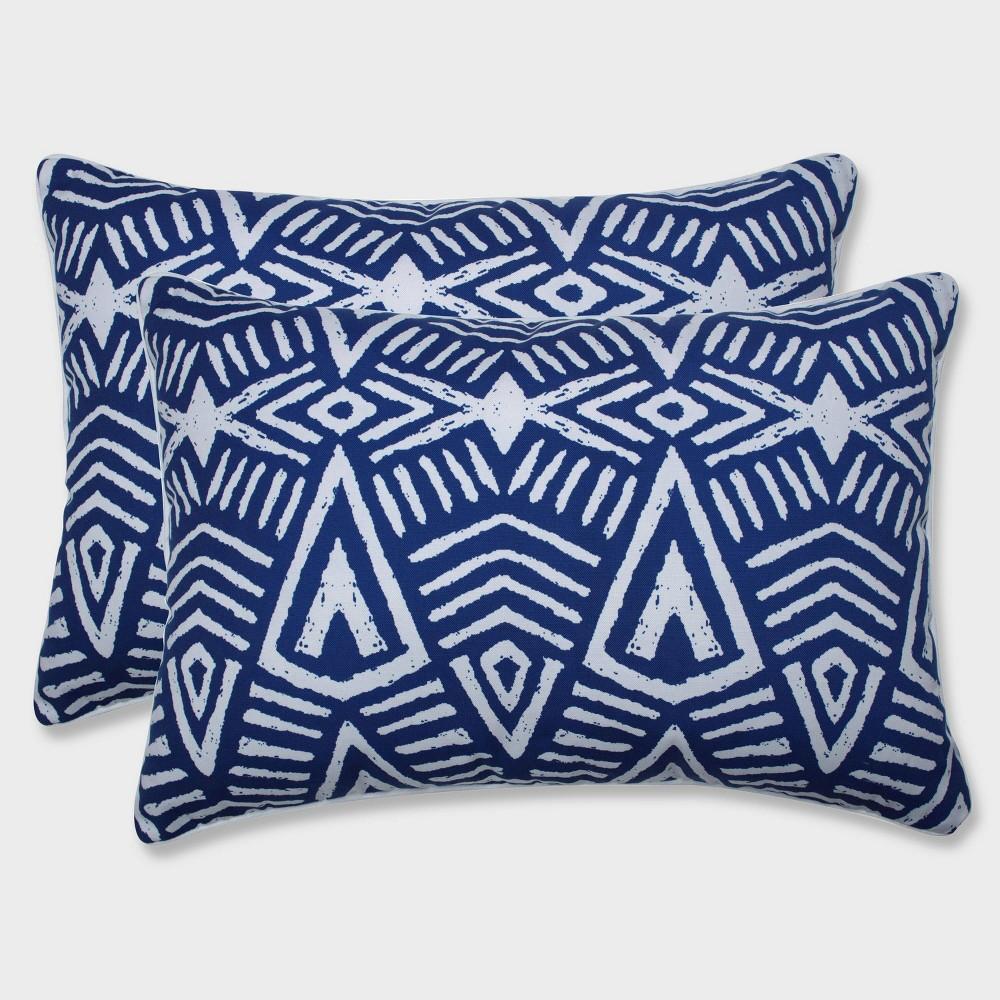 2pk Oversize Tribal Dimensions Rectangular Throw Pillows Blue - Pillow Perfect