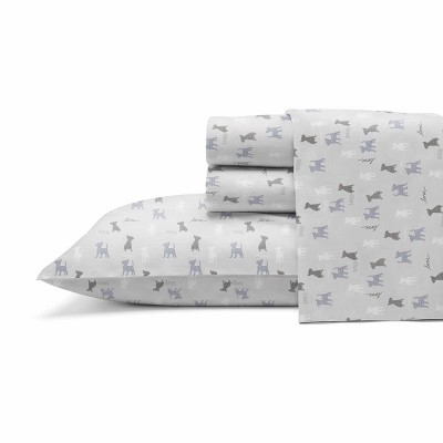 King Printed Pattern Percale Sheet Set Gray Dog - ED Ellen DeGeneres