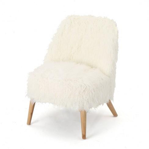 Awe Inspiring Cheryiie Faux Fur Accent Chair White Christopher Knight Machost Co Dining Chair Design Ideas Machostcouk