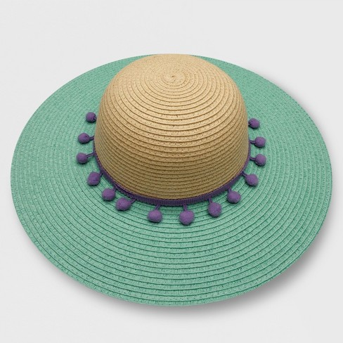 Toddler Girls  Floppy Hat With Poms - Cat   Jack™ Turquoise 2T-5T ... f1f0f4b5eca